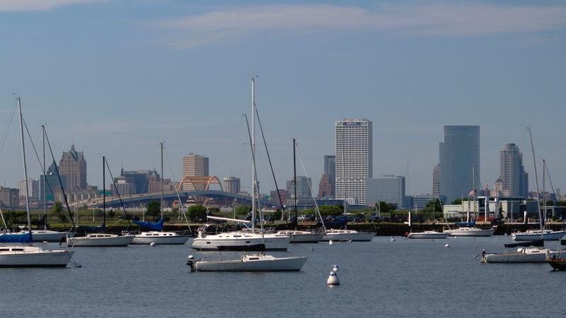 This Aug. 13, 2020 photo shows the skyline of downtown Milwaukee, the location of a scaled-down...