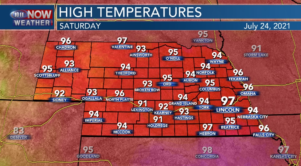 Hot and humid conditions continue on Saturday.