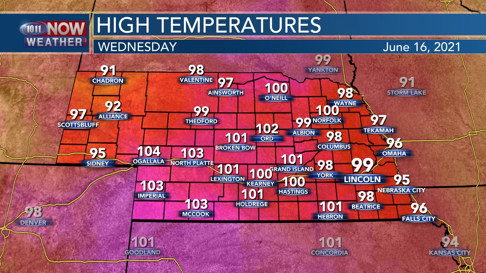 Temperatures on Wednesday will be very hot reaching the upper 90s to lower 100s.