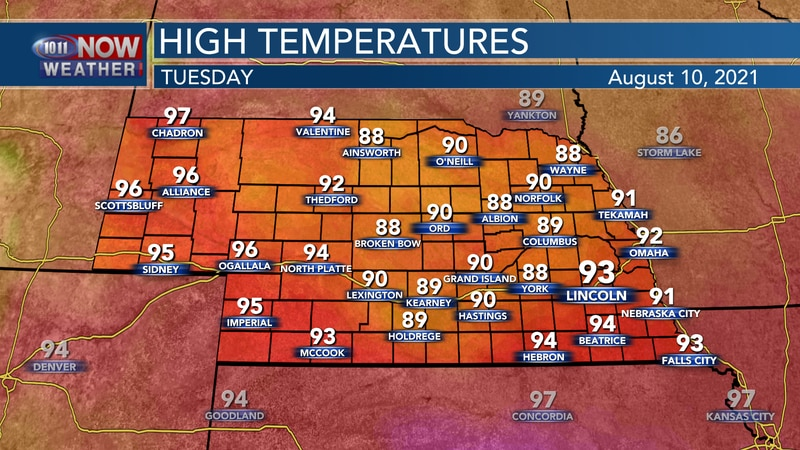 Temperatures should be a bit cooler on Tuesday with highs in the upper 80s to the lower and...