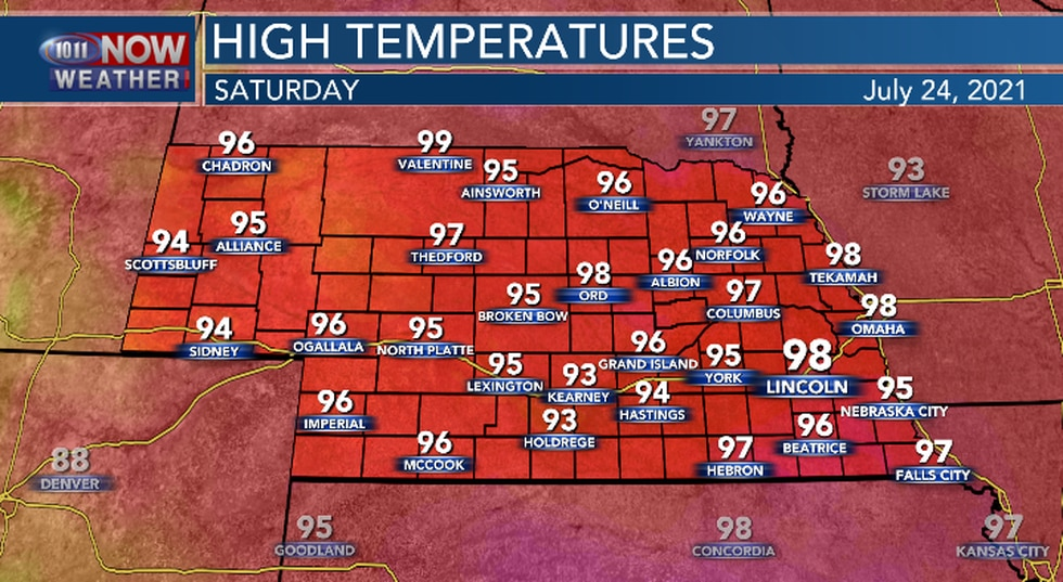 Mid to upper 90s expected on Saturday.