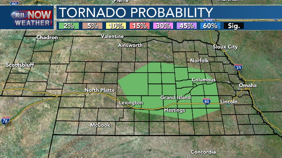 The threat for tornadoes is low. Isolated tornado possible.
