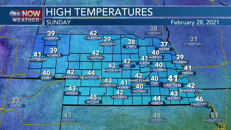 Cooler weather is expected on Sunday with highs in the low 40s for most of the state.