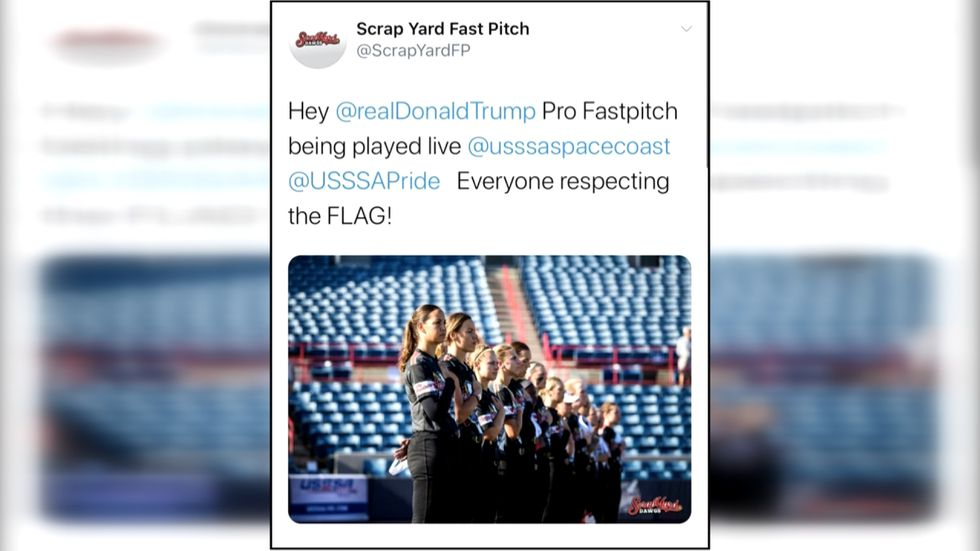 Connie May, general manager, of the Scrap Yard Dawgs posts a politically-charged tweet during...