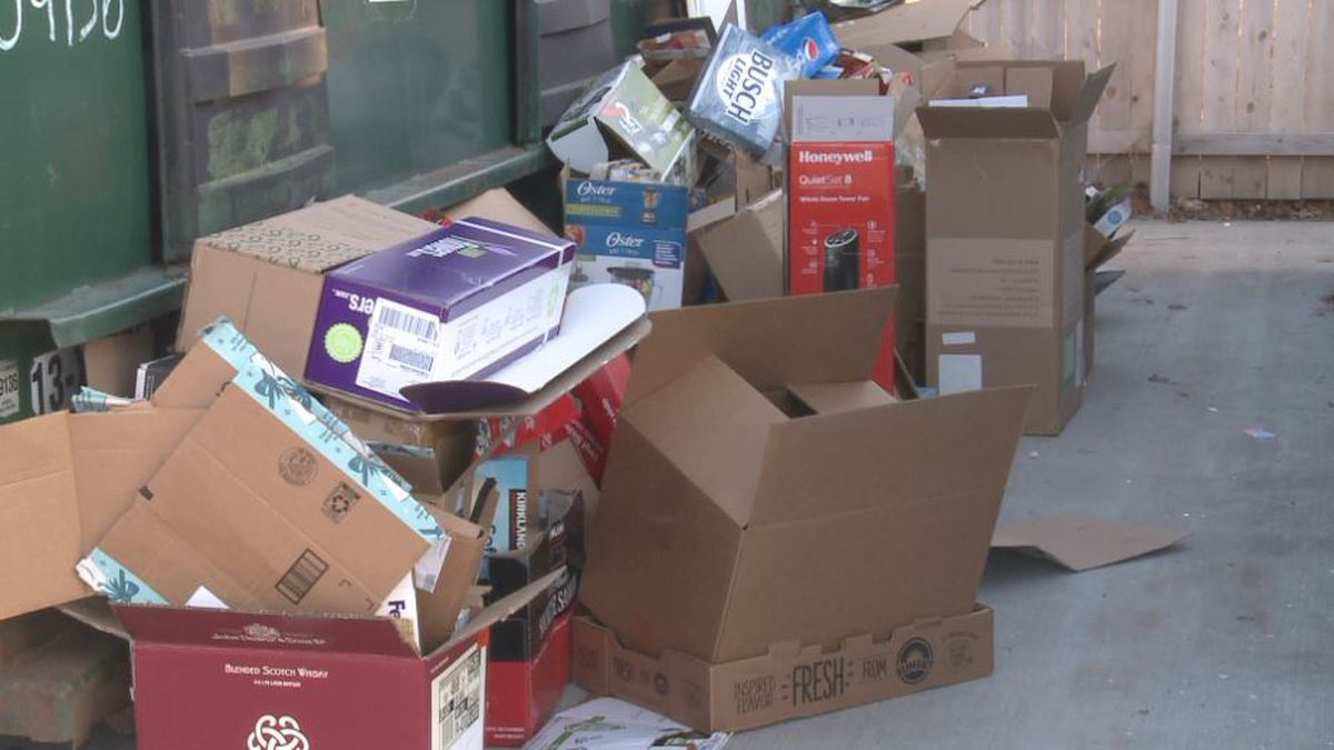 Here are boxes piling up at the Lewis Fields drop off location. The city is encouraging you to flatten cardboard boxes, so more boxes can be dropped off.