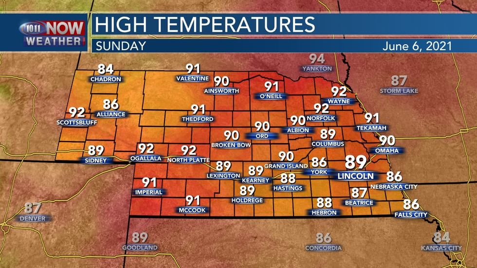 Temperatures will be a few degrees cooler in southeastern Nebraska with some added cloud cover...