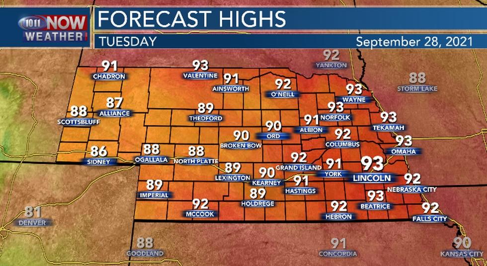 Hot again across Nebraska.
