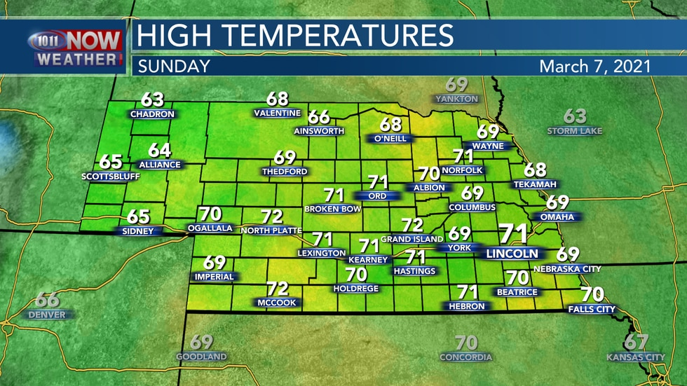 Temperatures should sit in the upper 60s to low 70s by Sunday afternoon.