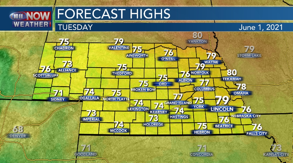 Mild, but still below average temperatures are in the forecast for Tuesday.