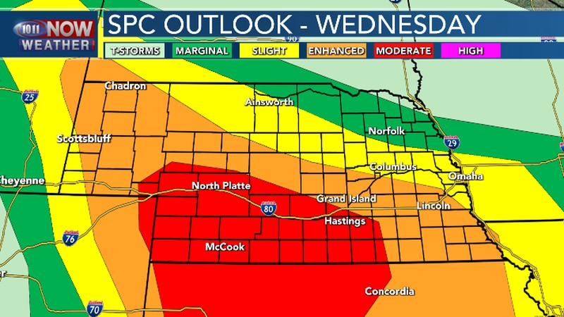 A MODERATE risk for severe weather in south central and southwestern Nebraska.  An ENHANCED...