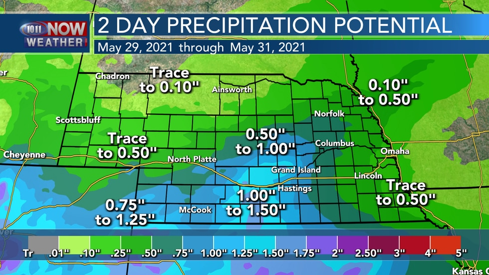 Rain is expected to move through the state into the day on Sunday and Monday. Parts of central...
