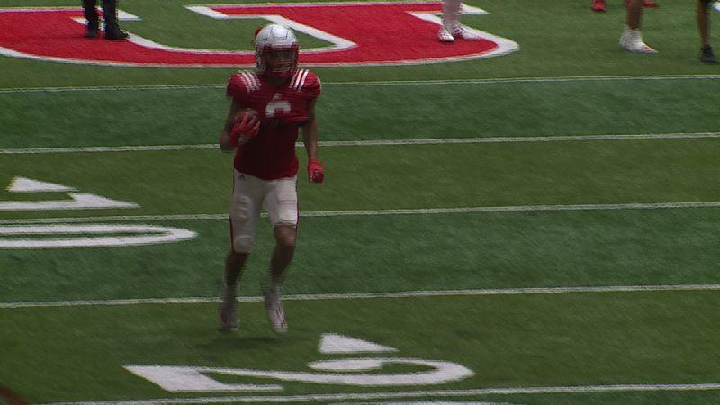 Nebraska wide receiver Samori Toure catches a pass during a spring practice.
