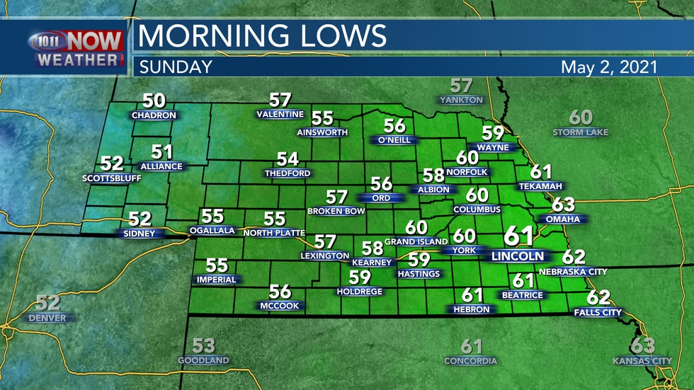 More mild temperatures are expected to start Sunday with lows in the mid 50s to low 60s.