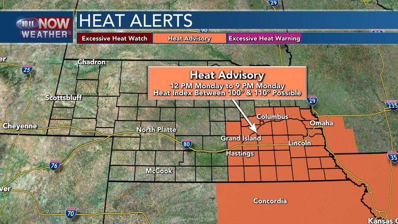 A Heat Advisory is in place across south central and southeastern Nebraska from noon Monday to...