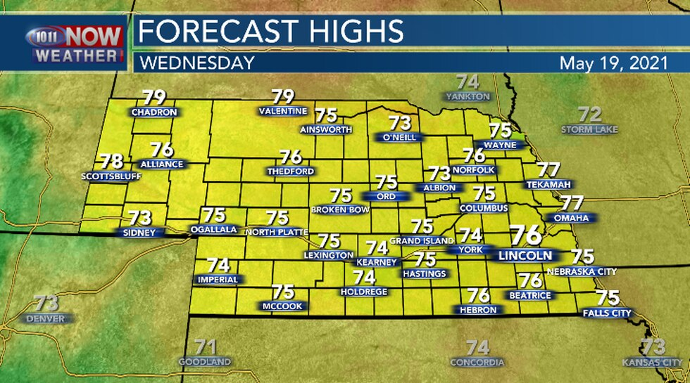 High temperatures across Nebraska Wednesday afternoon will mainly be in the 70s.