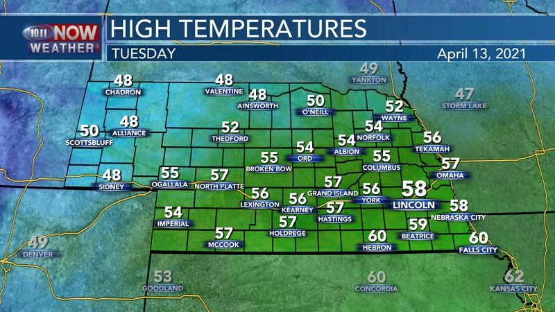 Seasonally cool weather is expected again on Tuesday with highs in the upper 40s to upper 50s...