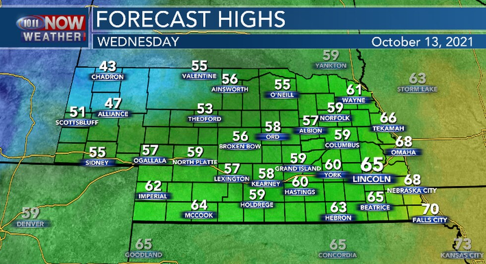 Cold temperatures in the Panhandle. Cooler for central and eastern Nebraska.