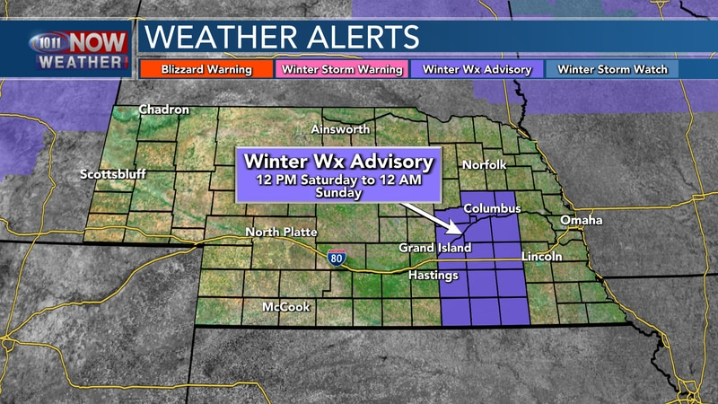 Winter Weather Advisories are in place for parts of central into eastern Nebraska from 12 PM...