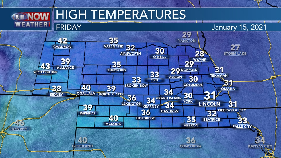Cold temperatures and areas of light snow are expected for Friday with highs in the upper 20s...