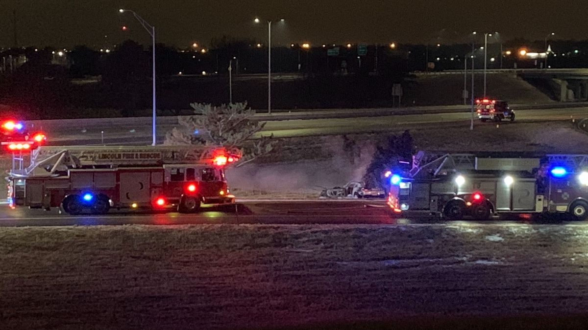 The scene of a single-vehicle crash at the I-80/I-180 interchange in North Lincoln overnight.