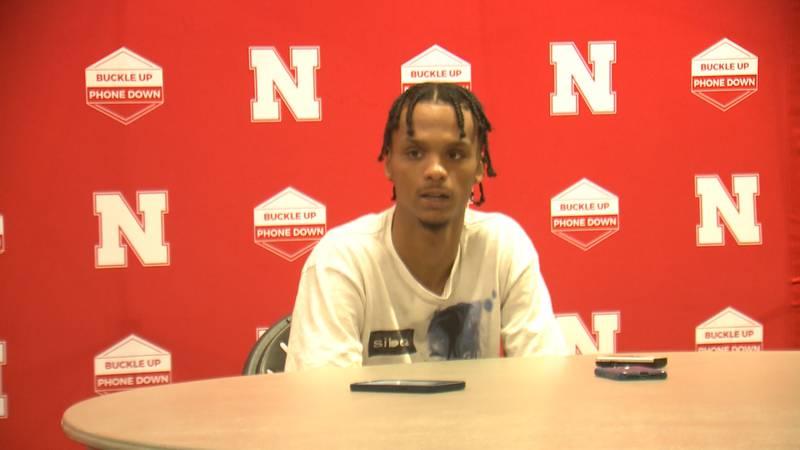 Alonzo Verge speaks with reporters at the University of Nebraska.