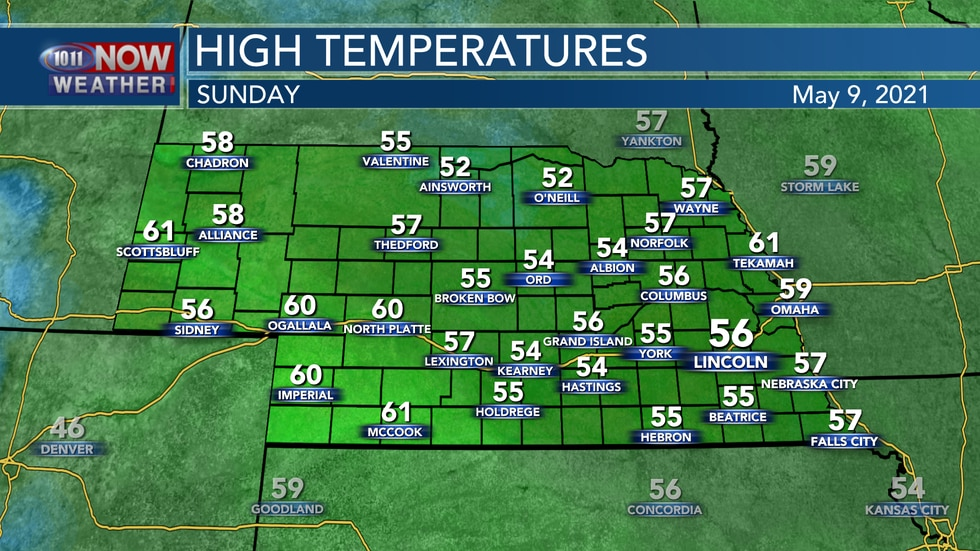Chilly weather is expected for Mother's Day Sunday with highs mainly in the mid to upper 50s...