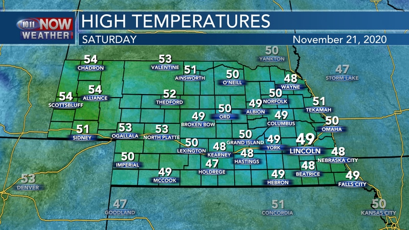 Mostly cloudy and seasonal weather is expected for Saturday with highs in the upper 40s to low...