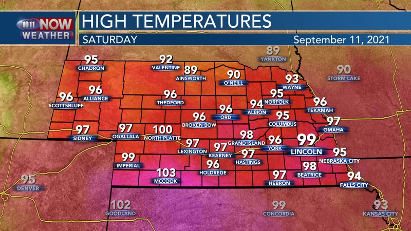 Temperatures should reach the mid to upper 90s for most of 10/11 Country on Saturday afternoon.