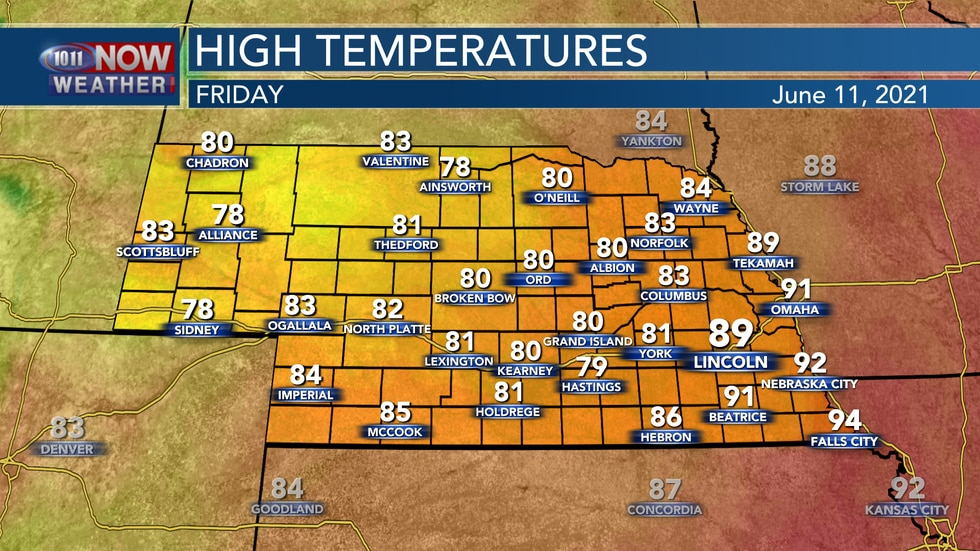 """""""Cooler"""" weather is expected on Friday behind the front with highs in the upper 70s to upper..."""
