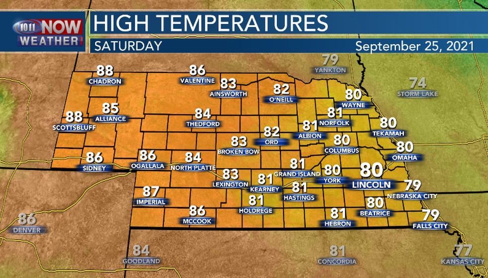 Saturday will be warmer with high temperatures back above average for this time of the year.