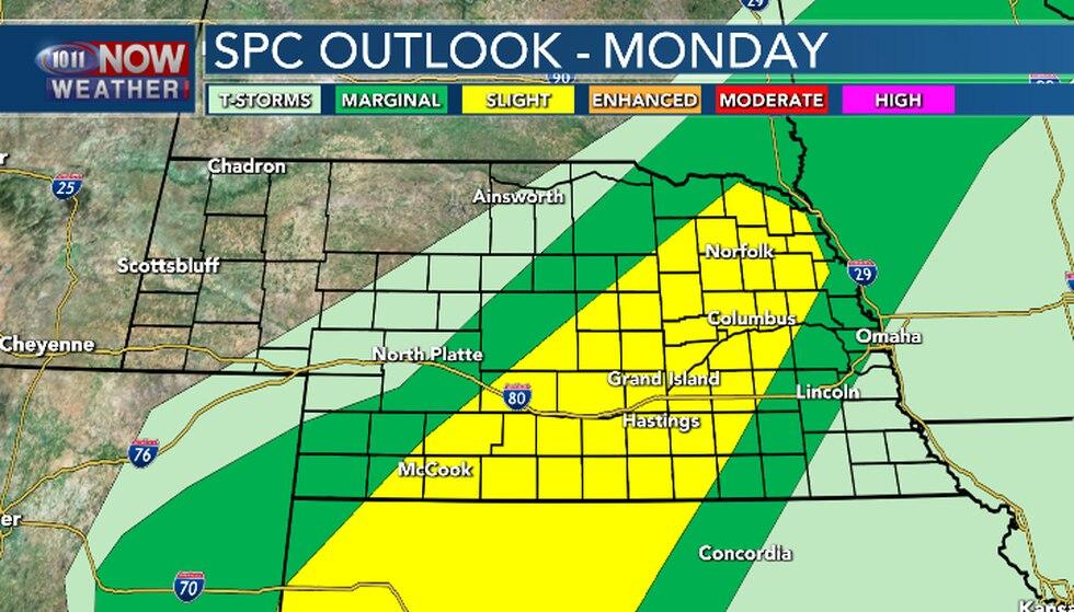 Slight risk for severe weather from southwest Nebraska up into northeastern Nebraska late...