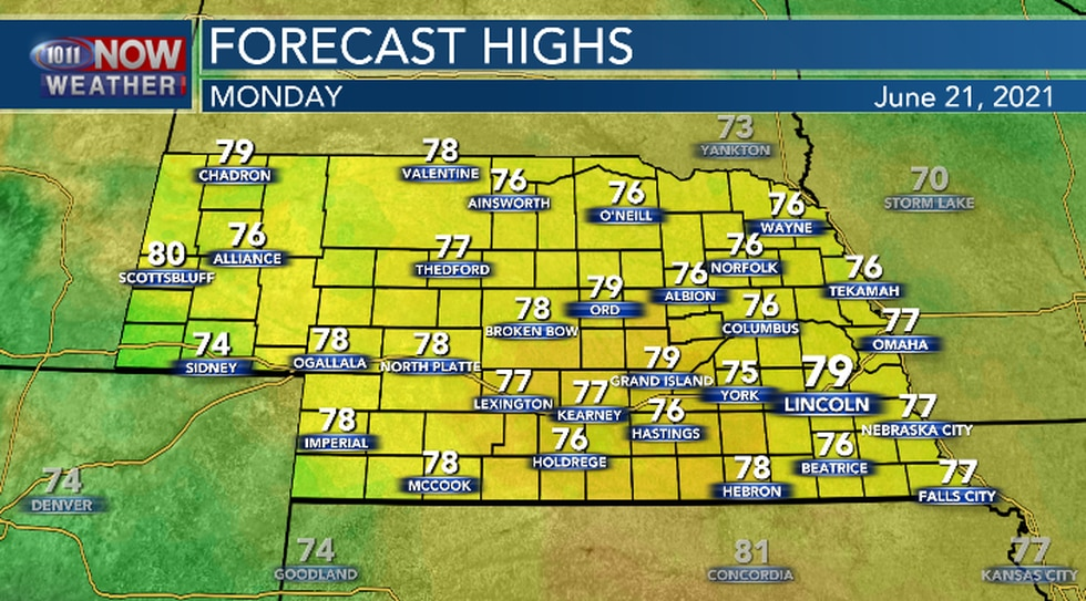 Below average temperatures Monday afternoon