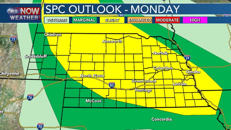 Scattered severe thunderstorms possible this evening and overnight. Large hail and damaging...