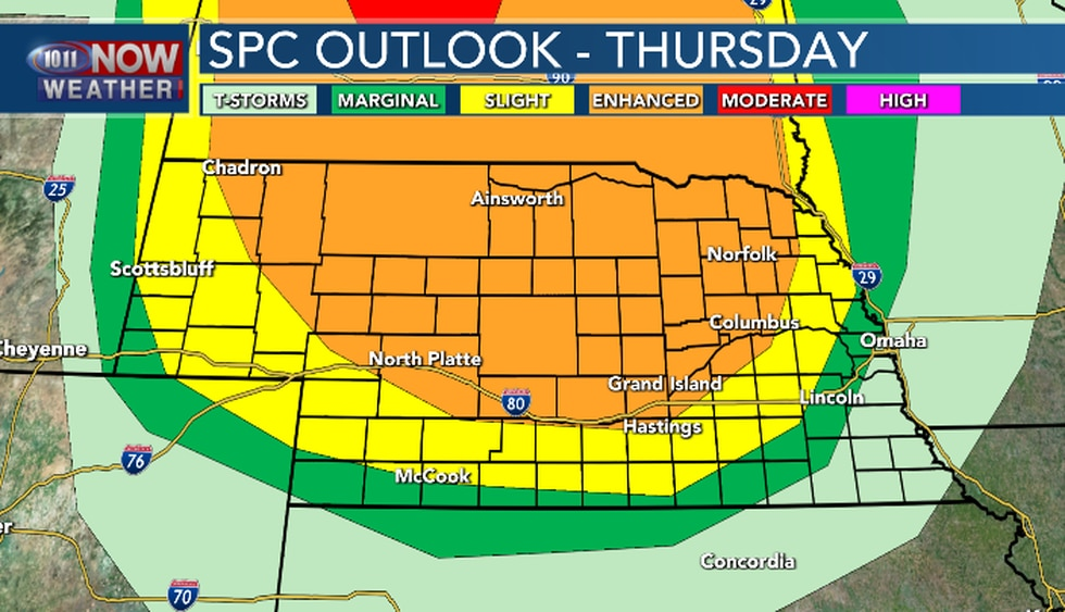 Severe weather is likely north of I-80 starting this evening and continuing into Friday morning.