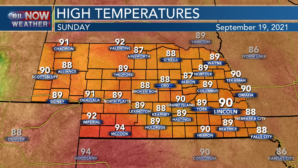 The warming trend continues Sunday.