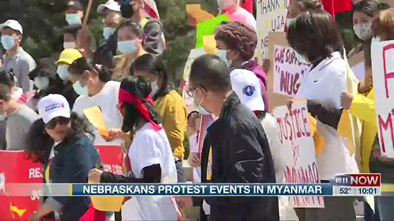 Nebraskans protest recent events in Myanmar.