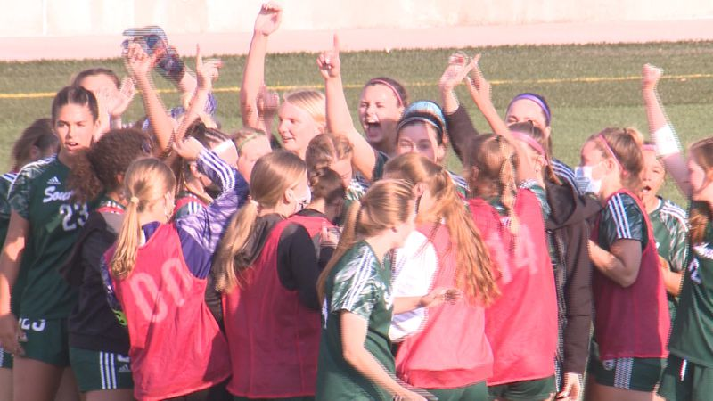 Lincoln Southwest celebrates its 1-0 win over Millard West in the District A-1 Final.