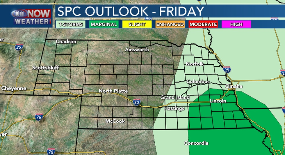 Marginal threat for severe weather in the Lincoln area on Friday.