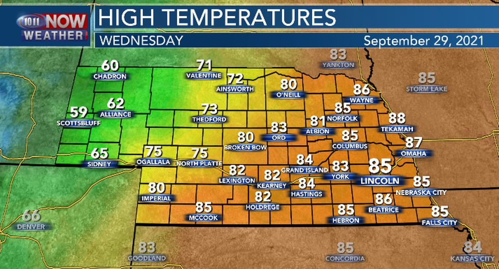 Cooler temperatures expected Wednesday but still above average.