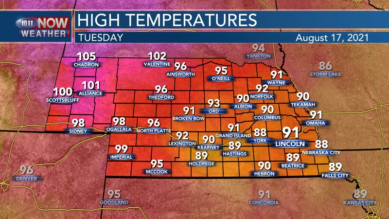 Temperatures by Tuesday afternoon should range from the upper 80s to upper 90s across the state...