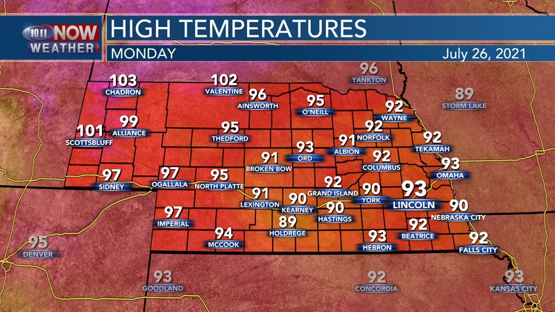Temperatures should reach the low 90s to low 100s across the state on Monday.