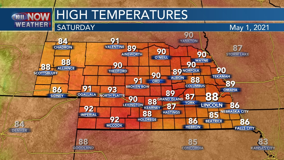 Hot and breezy weather arrives to start May with highs in the upper 80s to low 90s on Saturday.