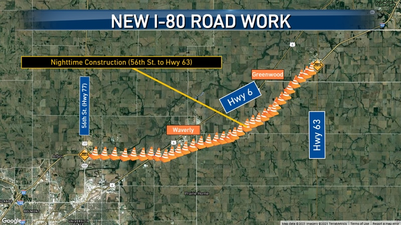 A map of the road construction starting Monday on I-80, according to NDOT.