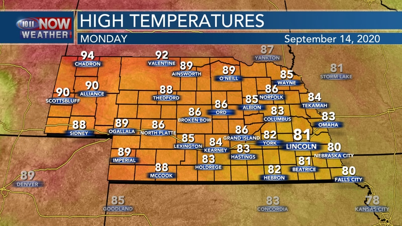 Another sunny, warm day is expected on Monday with highs in the low 80s to low 90s across the...