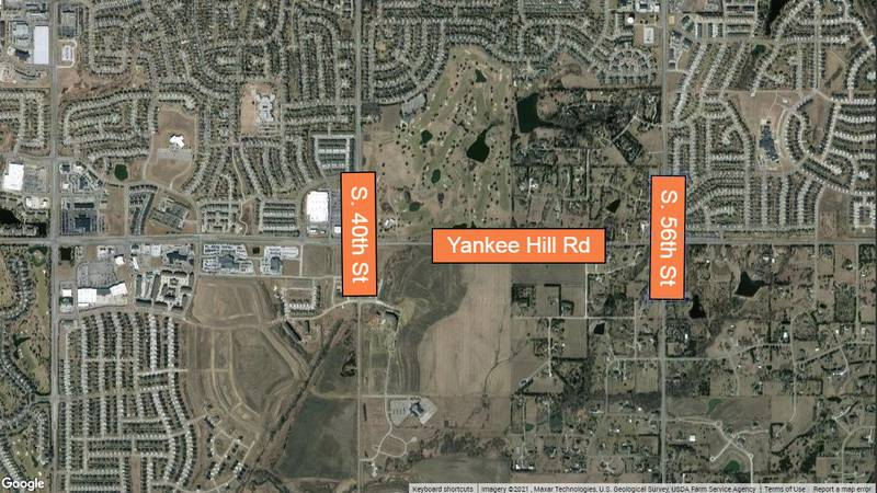 Yankee Hill Road between South 40th and South 56th Streets will be closed for a Lincoln on the...