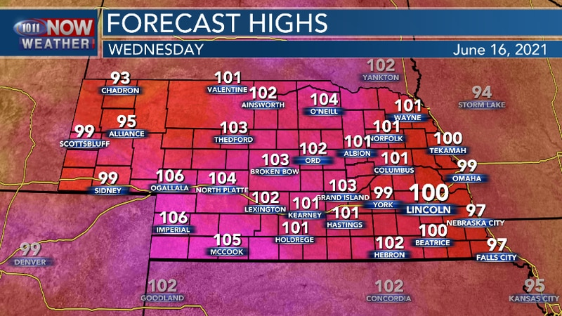 Triple digit heat expected across much of Nebraska Wednesday. Lincoln may see its first 100...