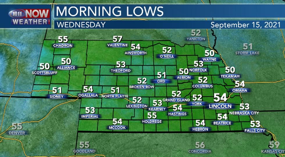 Cooler, more seasonal overnight lows.