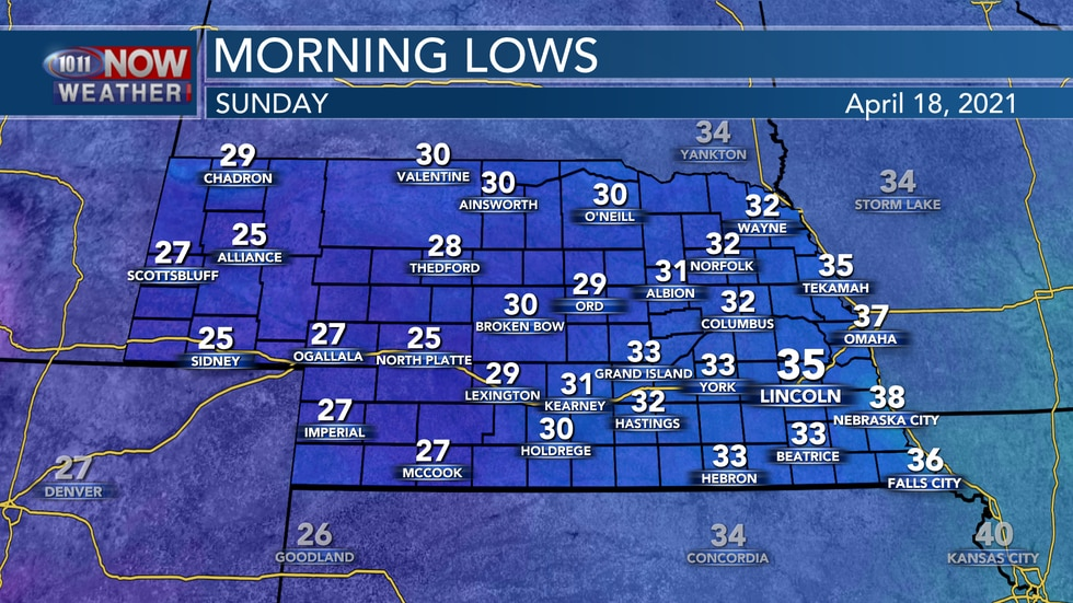 It should be another chilly start to Sunday with lows in the mid 20s to mid 30s across the state.