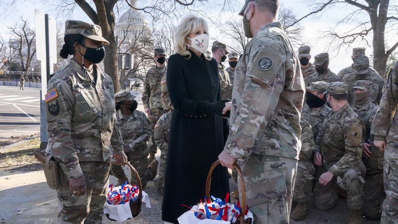 """Saying, """"The Biden's are a National Guard family,"""" first lady Jill Biden greets members of the..."""