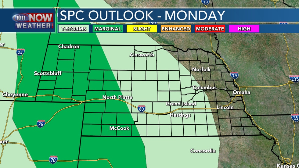 The heating of the day on Monday will be enough to potentially lead to some isolated severe...